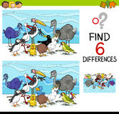 Differences game with birds Royalty Free Stock Image