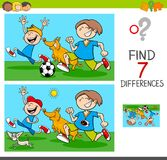 Differences game with boys and dogs. Cartoon Illustration of Finding Differences Between Pictures Educational Activity Game with Funny Playful Children Stock Images