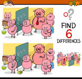 Differences game for children. Cartoon Illustration of Finding Differences Educational Activity Game for Children with Piglet Student Characters Stock Photo