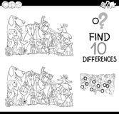 Differences game for coloring. Black and White Cartoon Illustration of Finding Details Educational Activity for Children with Dogs Animal Characters Coloring Royalty Free Stock Image