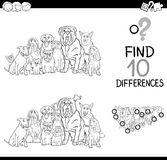 Differences game coloring page. Black and White Cartoon Illustration of Finding Differences Educational Activity for Children with Purebred Dogs Animal Royalty Free Stock Images