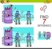 Differences game with comic robot characters. Cartoon Illustration of Finding Differences Between Pictures Educational Activity Game for Kids with Comic Robot Royalty Free Stock Photo