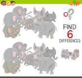 Differences game with elephants Stock Images