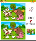 Differences game with farm animal characters stock illustration