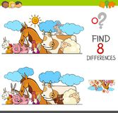 Differences game with farm animals group. Cartoon Illustration of Finding Eight Differences Between Two Pictures Educational Activity Game for Kids with Farm Stock Photo