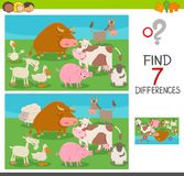 Differences game for kids with farm animals. Cartoon Illustration of Finding Seven Differences Between Pictures Educational Activity Game for Children with Farm Stock Photo