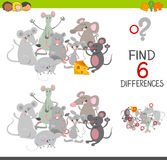 Differences game with mice. Cartoon Illustration of Spot the Differences Educational Game for Children with Mice Animal Characters Group Stock Image