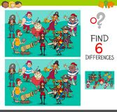 Differences game with pirate characters. Cartoon Illustration of Find and Spot Six Differences Between Pictures Educational Activity Game for Kids with Pirates Royalty Free Stock Image