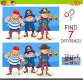 Differences game with pirate characters. Cartoon Illustration of Finding Seven Differences Between Pictures Educational Activity Game for Children with Pirate Royalty Free Stock Photo