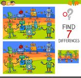Differences game with robot characters Stock Images