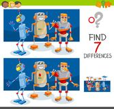 Differences game with robot characters. Cartoon Illustration of Finding Seven Differences Between Pictures Educational Activity Game for Children with Robot royalty free illustration