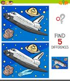 Differences game with space shuttle. Cartoon Illustration of Finding Five Differences Between Pictures Educational Game for Children with Space Shuttle royalty free illustration