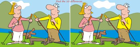 10 differences - hiker, board game. Find ten differences in the figures - husbands and dogs on the trip. Board funny game Stock Photo