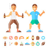 Differences lifestyle of good and bad guy. Flat vector illustration and icons Royalty Free Stock Photo