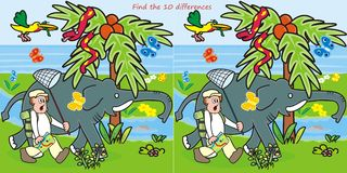 10 differences-man and elephant. Male and elephant are going on a hunt for butterflies. Find ten differences in the figures Royalty Free Stock Images