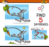 Differences preschool activity. Cartoon Illustration of Finding Differences Educational Activity Task for Preschool Children with Dangling a Carrot Saying Royalty Free Stock Images