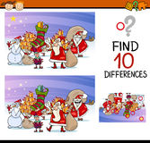 Differences for preschool children. Cartoon Illustration of Finding Differences Educational Task for Preschool Children with Santa Claus and Christmas Characters Royalty Free Stock Image