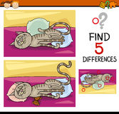 Differences preschool task. Cartoon Illustration of Finding Differences Educational Task for Preschool Children with Cat Animal Character Royalty Free Stock Image