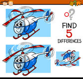 Differences task cartoon illustration. Cartoon Illustration of Finding Differences Educational Task for Preschool Children with Helicopter Character Royalty Free Stock Photo