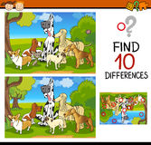 Differences task for children. Cartoon Illustration of Finding Differences Educational Task for Children with Dogs Characters Royalty Free Stock Photos