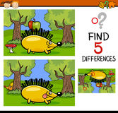 Differences task for children. Cartoon Illustration of Finding Differences Educational Task for Preschool Children with Hedgehog Animal Character Stock Photography