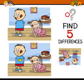 Differences task for kids. Cartoon Illustration of Finding Differences Educational Activity Task for Kids with Child Characters Royalty Free Stock Photography