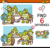 Differences task for kids. Cartoon Illustration of Finding Differences Educational Activity Game for Children with Turtle Student Characters Royalty Free Stock Photo