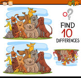 Differences task for kids. Cartoon Illustration of Finding Differences Educational Game for Preschool Kids with Dog Characters Stock Photos