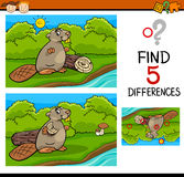 Differences task for kids. Cartoon Illustration of Finding Differences Educational Task for Preschool Children with Beaver Animal Character Stock Image