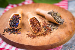 Differend dry teas. In wooden scoops on wooden background Stock Images