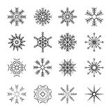 16different图标集合雪花 库存例证