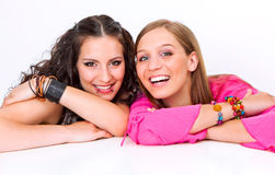 Different 06. Portrait of two different teenage-girls Royalty Free Stock Image