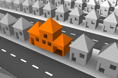 Different. Rows of grey 3d houses with one large orange house Royalty Free Stock Images