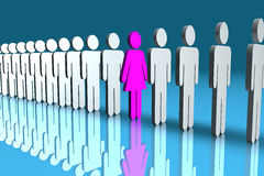 Different. Line of male 3d figures with one pink female figure in the middle Stock Photography