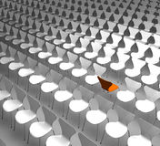 Different. Conceptual rendering showing a lot of chairs with one of them vice versa as a symbol for beeing differnt Royalty Free Stock Images