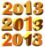 Different 3D models of the new year 2013, 3D model Royalty Free Stock Photo