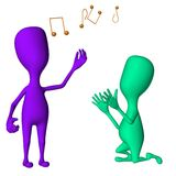 Different 3d puppets mimicking singing and request Stock Photo