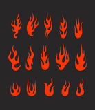 Different abstract flame silhouettes. Collection Royalty Free Stock Image