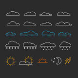 Different abstract forecast icons collection Royalty Free Stock Image