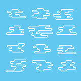 Different abstract lineart clouds collection Royalty Free Stock Photos