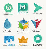 9 Different abstract polygonal geometric logo element Stock Photos