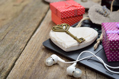 Different accessories on a wooden background Stock Photos