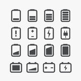 Different accumulator status icons. Set with rounded corners. Design elements Royalty Free Stock Photography