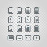 Different accumulator status icons set Stock Photo