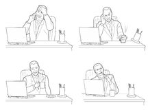 Different actions and emotions of men. Stock Photography