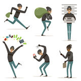 Different actions scenes with cartoon bandit. Vector mascot of thief in action poses. Illustrations of robbery or raid. Crime character theft with money Royalty Free Stock Images