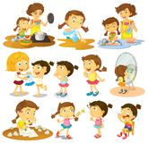 Different actions of a young girl Stock Photo