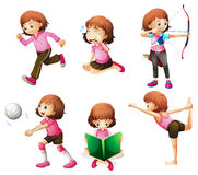 Different activities of a little lady. Illustration of the different activities of a little lady on a white background Royalty Free Stock Image