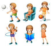 Different activities of a young lady. Illustration of the different activities of a young lady on a white background Royalty Free Stock Photography
