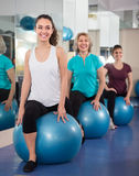 Different age female with exercise ball Royalty Free Stock Photo